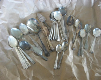 Group Of 37 Vintage/Old Silver Plate Silverware ~ Large & Small
