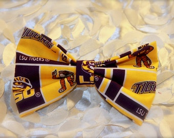 LSU Tiger- Hair Bow- Bows- Barrette- Team- Louisiana- Geaux tigers- tigers- Purple and Gold