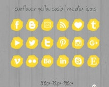 ON SALE Sunflower Yellow Social Media icons - pompon - Cute Blogger Wordpress Blog Buttons PNG