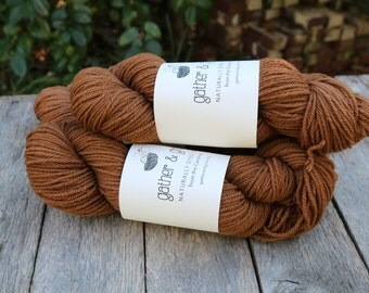 Brown wool yarn naturally dyed with black walnut