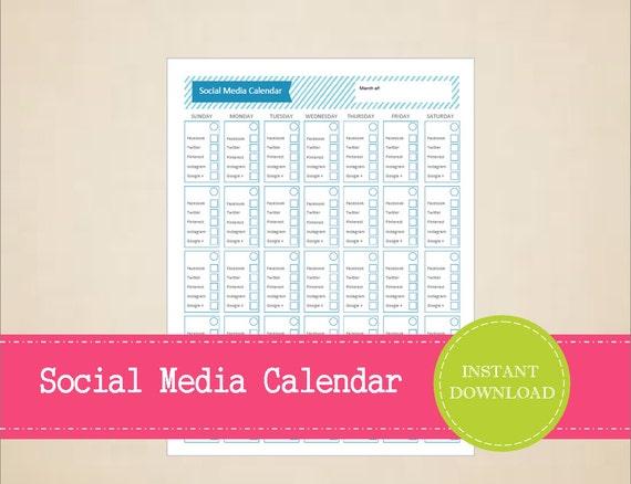 Monthly Social Media Calendar : Monthly social media planner content calendar