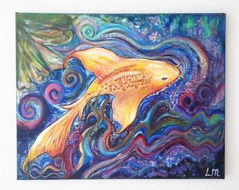 Koi Carp Acrylic Painting on canvas original