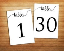Printable Table Numbers 1 – 30 Printable Wedding Table Numbers tent cards Events Table Numbers Banquet Anniversary Party Reception Download