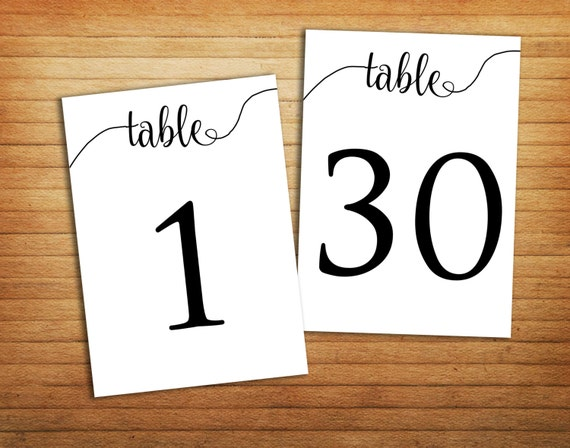 Printable Table Numbers 1 30 Printable Wedding By