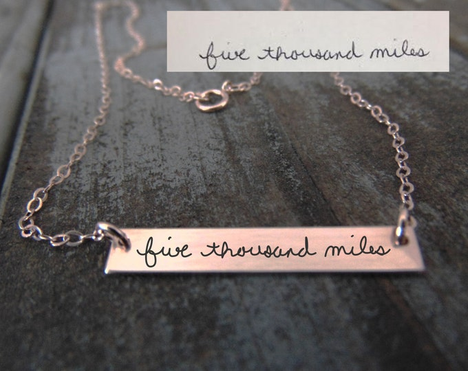 Rose Gold Handwritten  Horizontal Bar Necklace - YOUR HANDWRITING - or text, Sterling Silver, Gold or Rose Gold - Layering -Jewelry For Her
