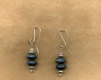 Lava Rock Dangle Earrings with Silver Plated wires