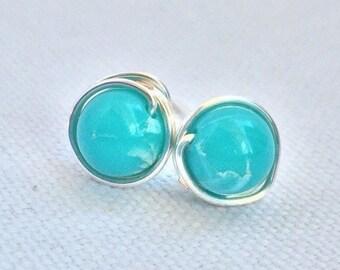 Turquoise Stud Earrings - Post Earrings - Silver Stud Earrings - Silver Earrings - Wire Wrapped Earrings - Turquoise Earrings -Blue Earrings