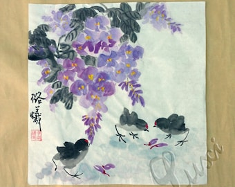 Chinese Ink Painting, Flower-and-bird painting,original Chinese art