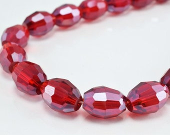 Red Oval Faceted Beads for Jewelry or Decoration for Chandelier making Different Sizes