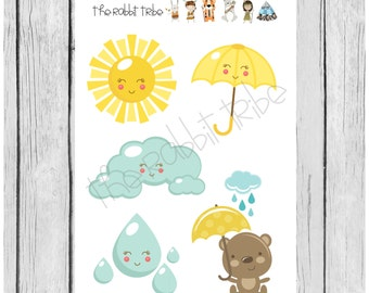 Mini Sticker Sheet - sunshine and rain - planner stickers