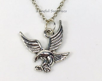 SALE Eagle Necklace for Man Men Boy Silver Flying Eagle Jewelry, Eagle Gifts Charm Necklace Gift for Dad Gifts Pewter American Eagle pendant