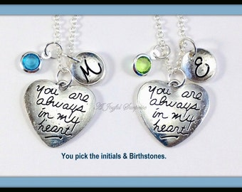 SALE - Personalized Mother Daughter Necklaces Set of 2, Always Heart Jewelry Gifts for Mothers Day Gift for Girlfriend Cousin Sister 78