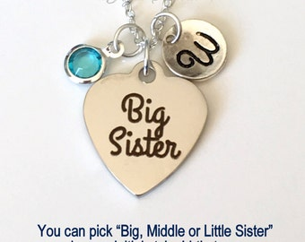 """Big Middle Little or Baby Sister Necklace Sisters Jewelry, Silver Stainless steel, Gift for Sister Present, Birthstone Initial 16"""" 18"""" 20"""""""