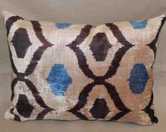 Silk Velvet Ikat Pillows - 15x20 Blue, Black, Handwoven Hand Dyed Decorative Ikat Throw Pillow - Lumbar Pillow Cover - Accent Pillow