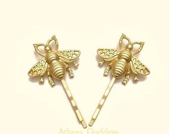 Bee Hair Pins Gold Bee Bobby Pins Brass Hair Pins Bee Hair Clips Bridal Hair SET of 2