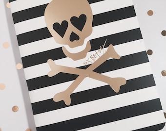 Betsey Johnson Striped Skull Notebook