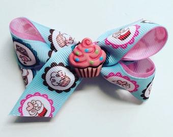 cupcake bow, blue bow, blue hair accessories, light blue bow, light blue hair bow, light blue hair accessories, blue baby bow, blue girl bow