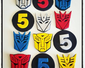 24 x Transformers amd decepticons fondant edible Cupcake Toppers - Birthday, Party