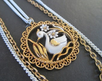 Swan Pendant Necklace * MAJESTIC SWAN * Three Strand * shp excl