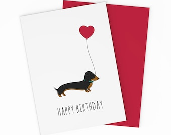 Printable Sausage Dog Birthday Card - Birthday Dachshund Card - Card For Dog Lovers - For Your Love - Kids Birthday Card