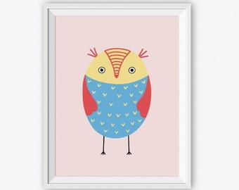 Printable Happy BIRD Art Print - Digital Bird Nursery Wall Art, Baby Girl Wall Art Baby Boy Wall Art, Kids Wall Art, Owl Nurser Room Decor