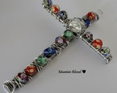 Hanging Wall Cross - Handmade with Nails, Wire and Lampworked Glass Beads