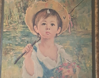 Painting of young boy fishing