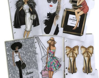 LV Planner Personal, Fashion Illustration dashboards, Divider with tabs, Pocket, A5 Filofax Dividers Dashboard Planner Set of 6