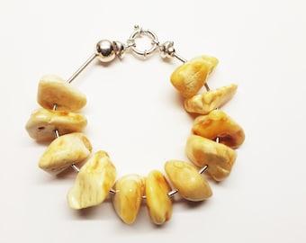 Handmade baltic amber bracelet 52g.