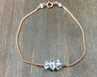 Herkimer diamond bracelet april birthstone bracelet herkimer diamond bracelet rose gold silver herkimer diamond bracelet april birthstone