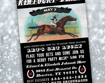 vintage kentucky derby invitations printable, derby party invites, horse racing, black white digital or printed invites 5x7 4x6