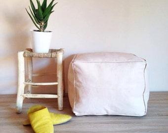 Square Moroccan Leather pouf/ottoman