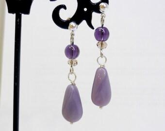 Large liliac earrings, nail earrings