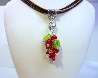 """Cristal beaded red and green necklace """"Fruits"""""""