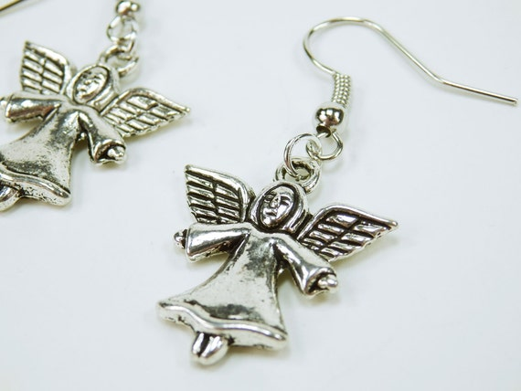 Angel Christmas Angel pendant earrings christmas ornament pendant earrings Winter Silver