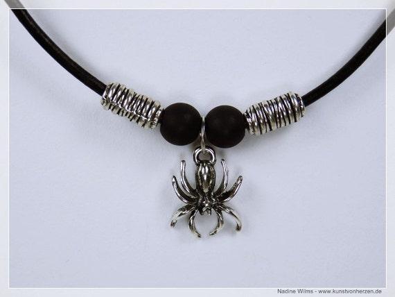 Necklace Spider silver Spider pendant and matt black beads on black leather bracelet unisex unique Mens Jewelry halloween