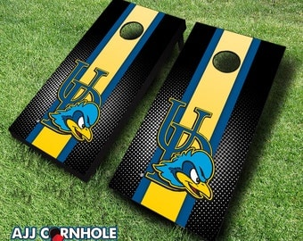Officially Licensed University of Delaware Striped Cornhole Set with Bags - Bean Bag Toss - Delaware Cornhole - Corn Toss - Corn hole