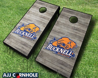 Officially Licensed Bucknell University Bison Distressed Cornhole Set with Bags - Bean Bag Toss - Bucknell Cornhole - Corn Toss - Corn hole