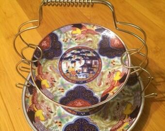 Vintage Japanese 2 tier petit fours/small cakes plates. Imari ware