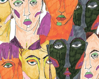 Woman faces Illustration, girls portrets, print from my original work, markers + fine-liner pen