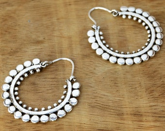 Gypsy Hoop Earrings, Silver Hoop Earrings, Tribal Earrings, Silver Earrings, Indian Earrings, Boho Earrings, Tribal Hoops, Gypsy Jewelry