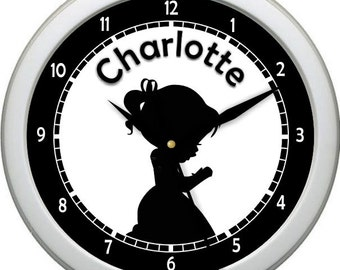 "Personalized Silhouette Praying Girl 10"" Wall Clock Girl Nursery Decor Gift"