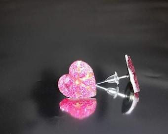 Stunning pink heart shaped earrings