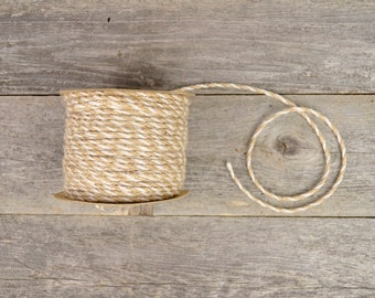 Twisted Jute Twine in Natural & Ivory / Bi-Color Cord - 50 yds