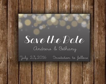 Starry Light Save the Date Wedding Cards / Custom Save the Date Printable / DIY Printable Card