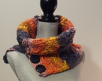 Knit Textured Cowl Scarf with Button Detail