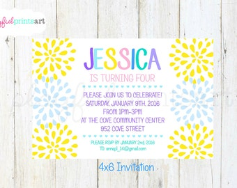 Spring Blossom Birthday Invitation, 4x6, Customized, Digital Download, Printable