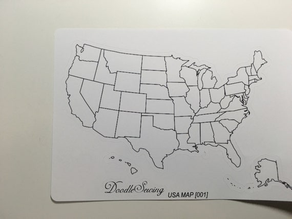 United States Map Bullet Journal Erin Condren by DoodleSewing – Travel Tracking Map