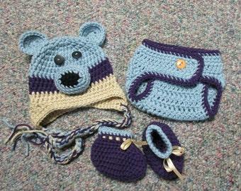Crochet Blue Bear Beanie & Diaper Cover Set