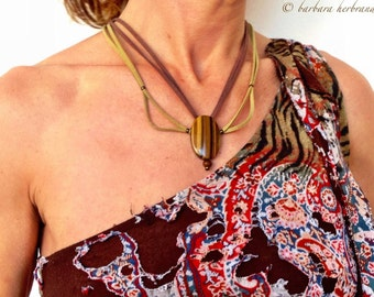 With Tiger's eye stone, different, handmade in suede Brown and green necklace